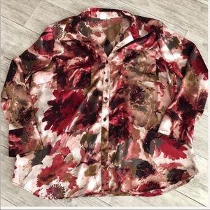Jones New York Beige and Red Floral Top